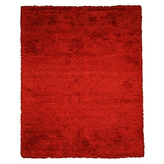 Handwoven Wool & Viscose Red Contemporary Solid Shaggy Rug (5' x 8')