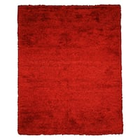 Handwoven Wool & Viscose Red Contemporary Solid Shaggy Rug (7'9 x 9'9)