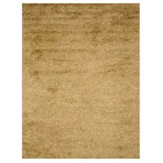 Handwoven Wool & Viscose Gold Contemporary Solid Shaggy Rug (7'9 x 9'9)