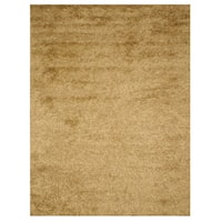 Handwoven Wool & Viscose Gold Contemporary Solid Shaggy Rug - 7'9 x 9'9
