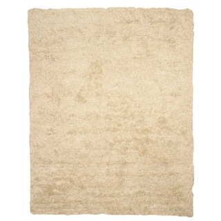 EORC Hand Woven Wool & Viscose Ivory and Viscose Shaggy Rug (7'9 x 9'9)