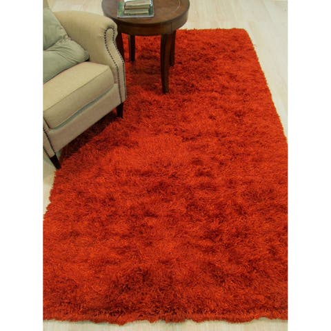 "Handwoven Wool & Viscose Orange Contemporary Solid Shaggy Rug - 7'9"" x 9'9"""