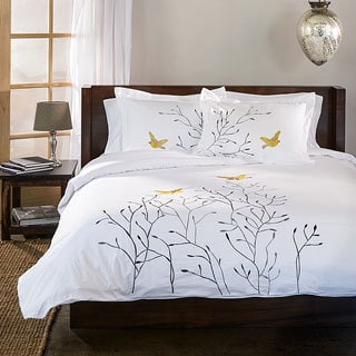 Superior Swallow 3 Piece Embroidered Cotton Duvet Cover Set