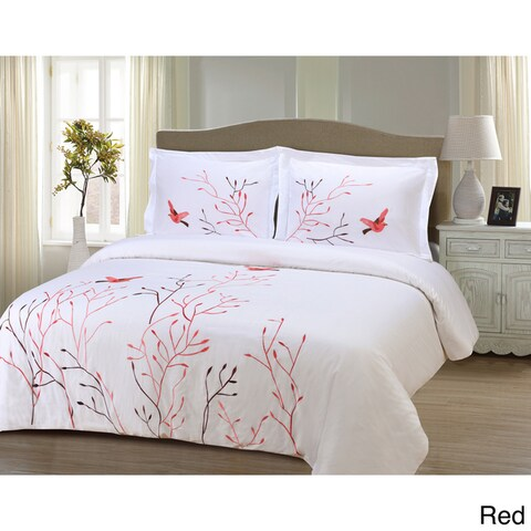 Superior Swallow 3-piece Embroidered Cotton Duvet Cover Set