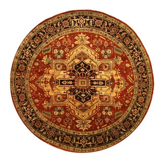 Hand-knotted Wool Rust Traditional Geometric Serapi Rug (8' Round)