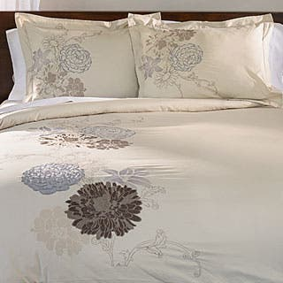 Superior Fieldstone 3-piece Embroidered Cotton Duvet Cover Set