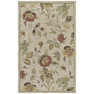 Hand-Tufted Lawrence Oatmeal Floral Wool Rug (7'6 x 9'0)