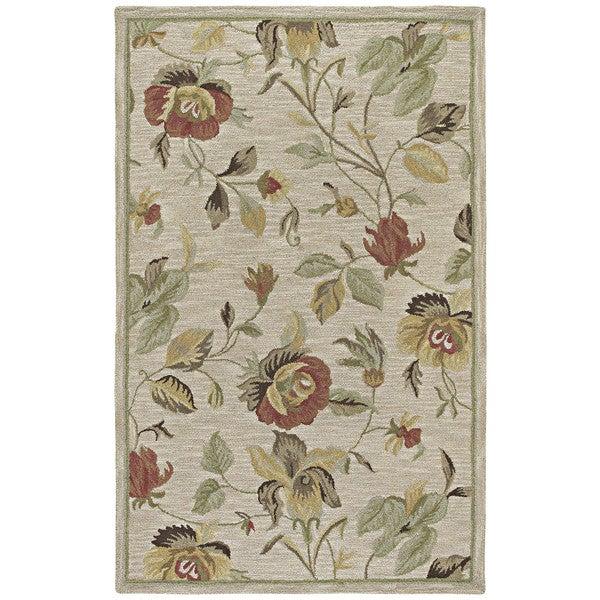 Hand-Tufted Lawrence Oatmeal Floral Wool Rug - 7'6 x 9'