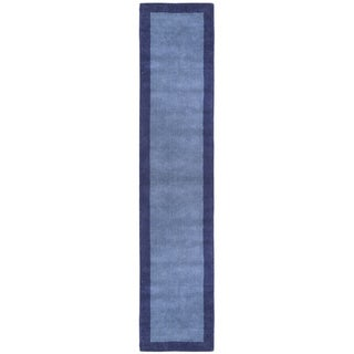 "Blue Border Pulse Hand Tufted Wool Runner 2.5x12 - 2'6"" x 12'"