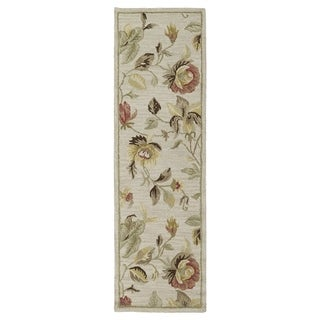 "Hand-Tufted Lawrence Oatmeal Floral Wool Rug (2'3 x 7'6) - 2'3"" x 7'6"""