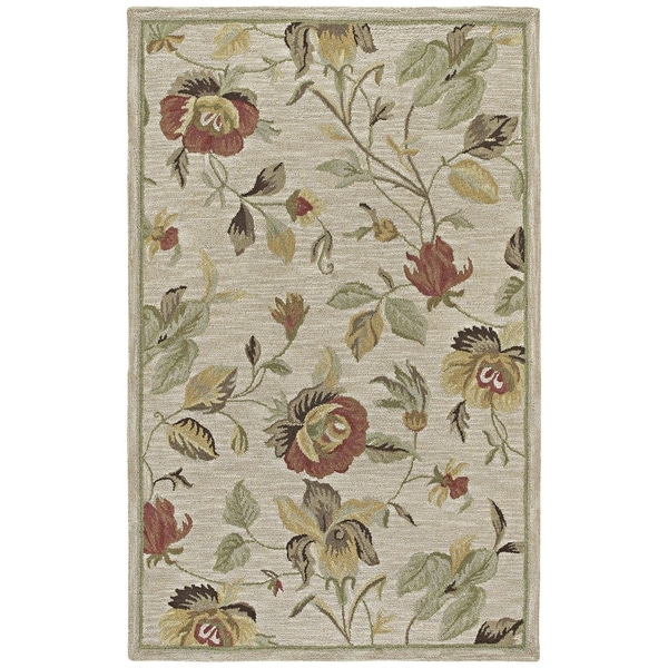 Lawrence Oatmeal Floral Hand-Tufted Wool Rug (8'0 x 11'0) - 8' x 11'