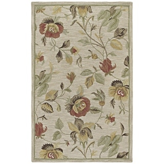 Lawrence Oatmeal Floral Hand-Tufted Wool Rug (8' x 11')