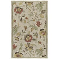 Hand-Tufted Lawrence Oatmeal Floral Wool Rug - 5' x 7'9