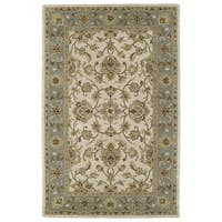 Hand-tufted Lawrence Beige Kashan Wool Rug - 7'6 x 9'
