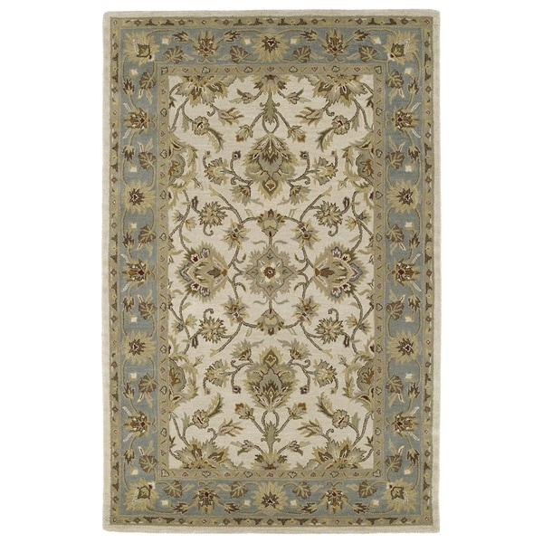Hand-tufted Lawrence Beige Kashan Wool Rug (8' x 11')