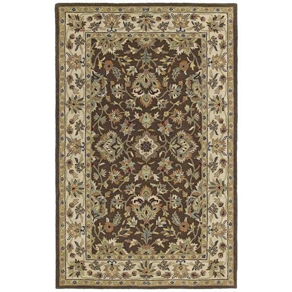 Hand-tufted Lawrence Brown Kashan Wool Rug - 8' x 11'