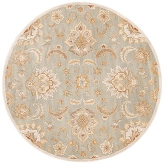 Coventry Handmade Floral Blue/ Tan Area Rug (8' X 8')