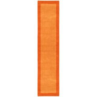 Orange Border Pulse Hand Tufted Wool Runner 2.5x12