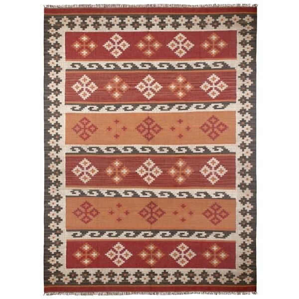 Hand Woven Jewel Wool Flat Weave 9x12 - 9' x 12'