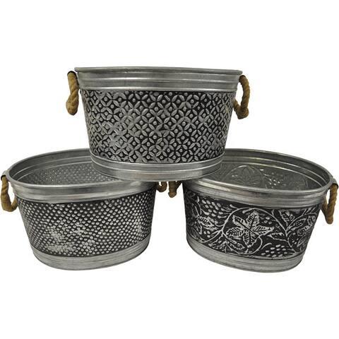 14-inch Antiqued Metal Tubs (Set of 3)