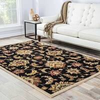 Coventry Handmade Floral Black/ Tan Area Rug (4' X 6') - 4' x 6'