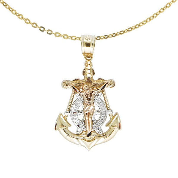 14k Tricolor Gold Nautical Anchor Jesus Necklace Free Shipping