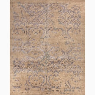 Handmade Tribal Pattern Taupe/ Blue Wool/ Viscose Rayon from Bamboo Rug (10 x 14)