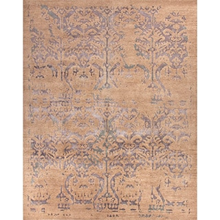 Handmade Tribal Pattern Taupe/ Blue Wool/ Viscose from Bamboo Rug (9 x 12)