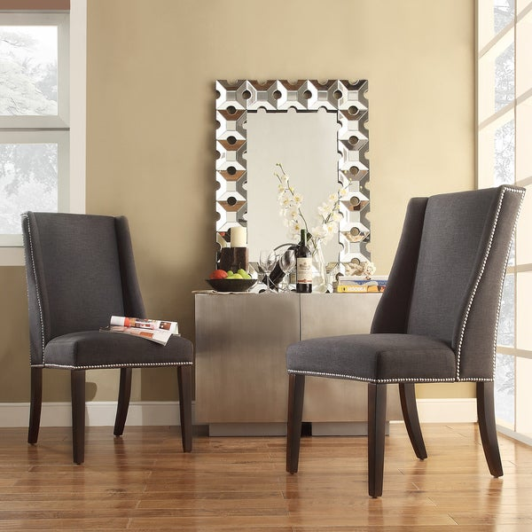 Inspire q geneva dark grey fabric wingback hostess chairs for Inspire q dining room chairs