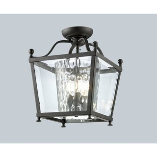 Z-Lite Bronze Caged Glass 3-light Semi-flush Mount Fixture