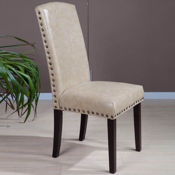 Shop Faux Leather Nail Head Parson Chairs Set Of 2