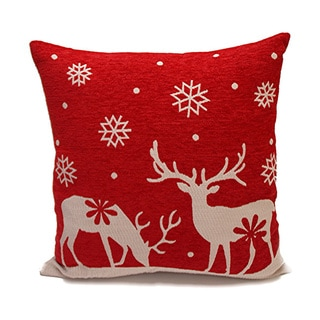 Red/ Cream Polyester Filled Decorative Holiday Throw Pillows
