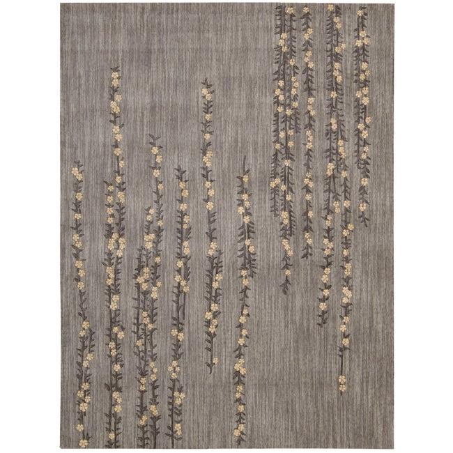 Nourison Liz Claiborne Radiant Impression Delicate Floral Light Grey Rug (5'6 x 7'6)