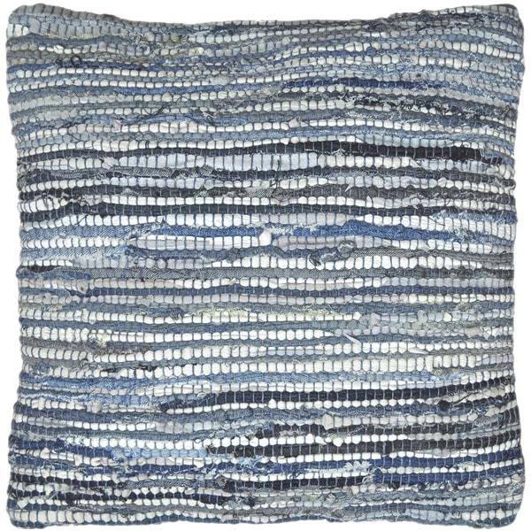 Matador 18-inch Blue Leather/ Denim Throw Pillow