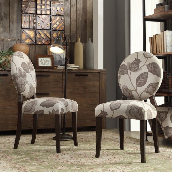 Black White Floral Dining Side Chair Set: Shop INSPIRE Q Paulina Grey Floral Round Back Dining Chair