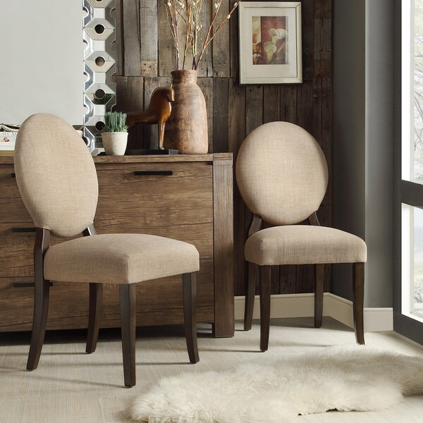Inspire q paulina tan linen round back dining chair set for Inspire q dining room chairs