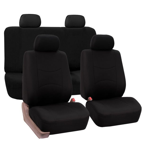 FH Group Black Car Seat Covers For Front Low Back Buckets