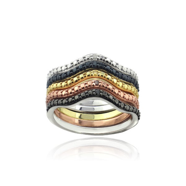 DB Designs Colored Diamonds Eternity Ring Set (Set of 5)
