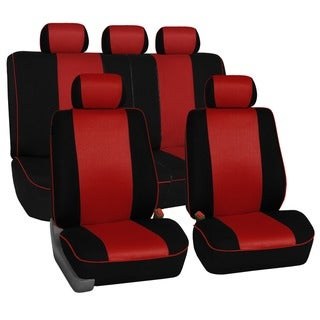 FH Group Red 3D Air-mesh with Edge Piping Car Seat Covers (Full Set)