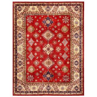 Herat Oriental Afghan Hand-knotted Kazak Red/ Ivory Wool Rug (8'10 x 11'10)