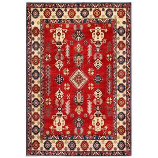 Herat Oriental Afghan Hand-knotted Kazak Red/ Ivory Wool Rug (7'2 x 10'6)