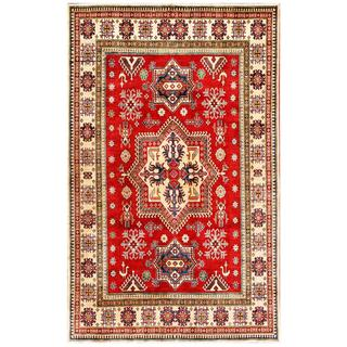 Herat Oriental Afghan Hand-knotted Kazak Red/ Ivory Wool Area Rug (7' x 11')
