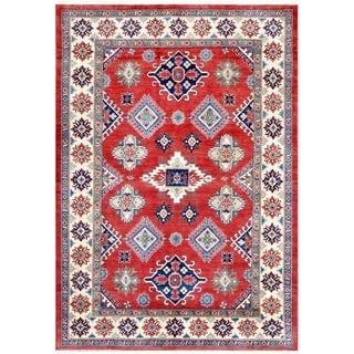 Herat Oriental Afghan Hand-knotted Kazak Red/ Ivory Wool Rug (6'7 x 9'6)