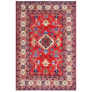 Herat Oriental Afghan Hand-knotted Kazak Red/ Ivory Wool Rug (6'5 x 9'4)