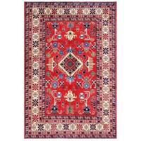 Herat Oriental Afghan Hand-knotted Kazak Wool Rug (6'5 x 9'4)