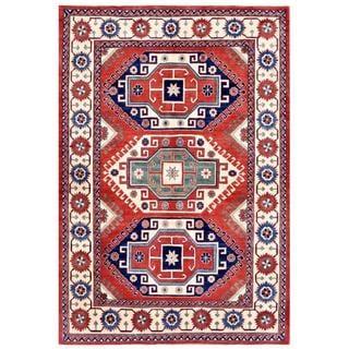 Herat Oriental Afghan Hand-knotted Kazak Red/ Ivory Wool Rug (6'7 x 9'5)