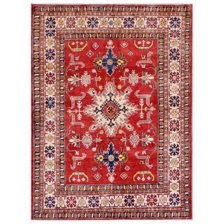 Herat Oriental Afghan Hand-knotted Kazak Wool Rug (6'3 x 8'9)