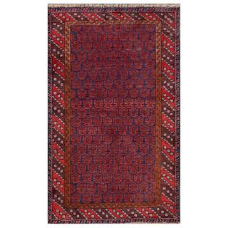 Herat Oriental Afghan Hand-knotted Tribal Balouchi Wool Area Rug (2'10 x 4'7)