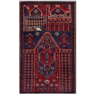 Herat Oriental Afghan Hand-knotted Tribal Balouchi Wool Area Rug (2'9 x 4'7)