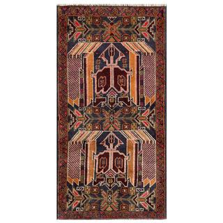 Herat Oriental Afghan Hand-knotted Tribal Balouchi Navy/ Gold Wool Area Rug (2'6 x 5')